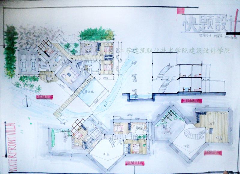 别墅建筑快题设计图展示